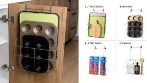 metal bakeware holder that slips over the inside on your cabinet door