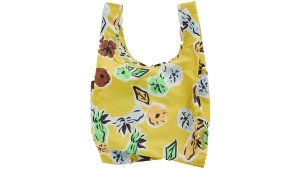 yellow floral reusable nylon bag