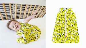 soft fabric sleep sack for babies with an adorable yellow banana pattern