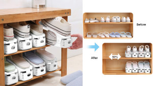 shoe stackers to help you store pairs vertically instead of horizontally