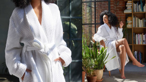 lightweight waffle cotton robe for lounging