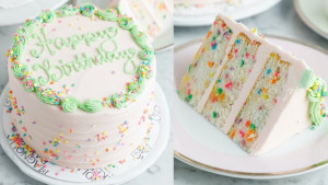 vanilla birthday cake with buttercream icing and sprinkles