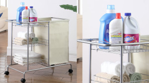 rolling laundry cart with a hamper and shelves
