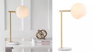 A globe table lamp