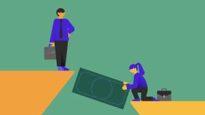 Woman closing gap with a dollar bill