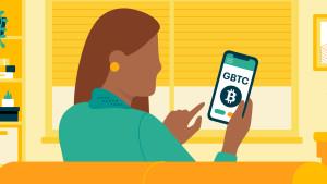 Woman looking at crypto wallet