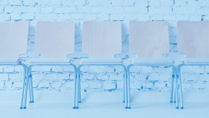Empty seats with blue background