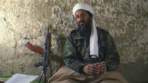 """Osama Bin Laden, the Saudi millionaire and fugitive leader of the terrorist group al Qaeda, explains why he has declared a """"jihad"""" or holy war against the United States on August 20, 1998 from a cave hideout somewhere in Afghanistan."""