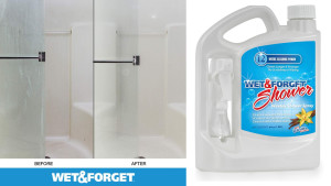 shower spray that'll clean walls without hard scrubbing