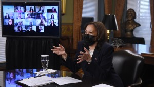 US Vice President Kamala Harris participates in a roundtable discussion on Equal Pay Day with women leaders of advocacy organizations on March 24, 2021.