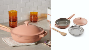 nonstick pan for everyday use with a nested steaming basket and beechwood utensil