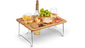 mini wooden picnic table with metal folding legs