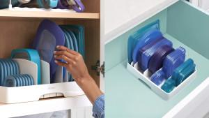 food storage container lid organizer