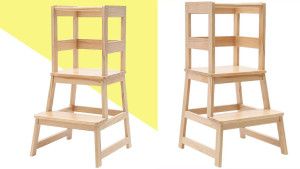 wooden kitchen stool with safety bar for kids