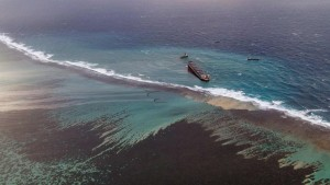 Leaked oil coming from the vessel MV Wakashio that ran aground near Blue Bay Marine Park off the coast of south-east Mauritius