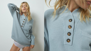 blue henley sweater with front buttons