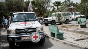 Ambulances of Red Cross arrive with patients who were injured in their town Togoga in a deadly airstrike on a market