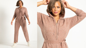 sweater jumpsuit with waist tie and hood
