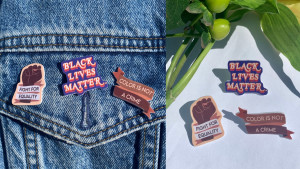 pins dedicated to the black lives matter movement