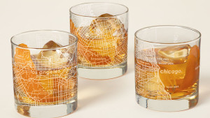 whiskey glasses etched with city maps
