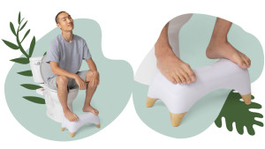 little stool to place in front of your toilet to help with sitting position