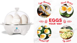 self-timed egg cooker that can automatically cook eggs for you in various styles
