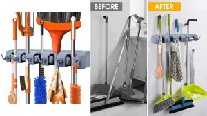 mop and broom wall mount