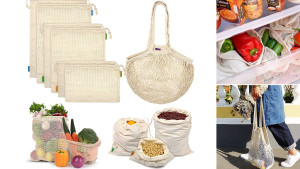 reusable cotton produce bags for groceries and grains