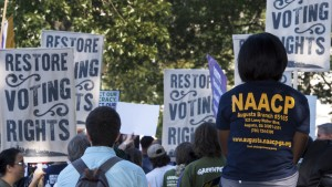 Various labor unions and progressive organizations protest on Capitol Hill September 16, 2015, calling for the restoration of the Voting Rights Act