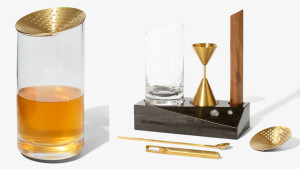 chic bar tool set with shaker, strainer, measuring cup, and more