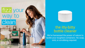 tiny tablets that can clean the inside of reusable water bottles and coffee mugs