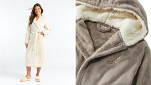plush bathrobe with fleece and sherpa lining