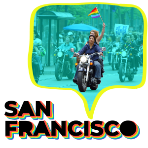 Women in San Francisco on motorcycles