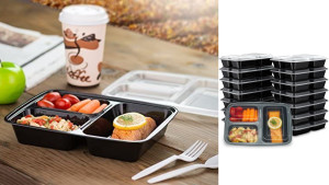sectioned food storage containers with lids that are microwave safe