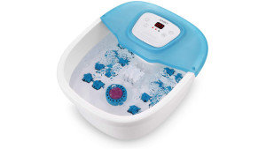 pedicure foot bath with built-in massage rollers that heats water and bubbles