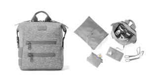 neoprene diaper bag in gray with changing mat and dirty diaper bag