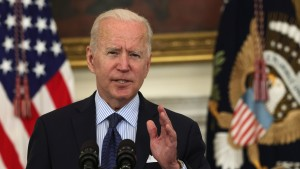 U.S. President Joe Biden delivers remarks on the COVID-19 response and the vaccination program during an event at the State Dining Room of the White House May 4, 2021 in Washington, DC