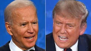 Democratic Presidential candidate and former US Vice President Joe Biden (L) and US President Donald Trump speaking during the first presidential debate