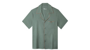 green linen shirt with a peach piping and front chest pocket