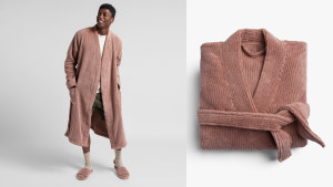 soft ribbed turkish cotton peach colored robe for men