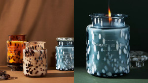 candle with colorful speckled jar