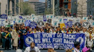 The March for Women's Lives rally, organized by the National Organization of Women, takes place to fight for abortion rights and legal battles in DC in April 1992.