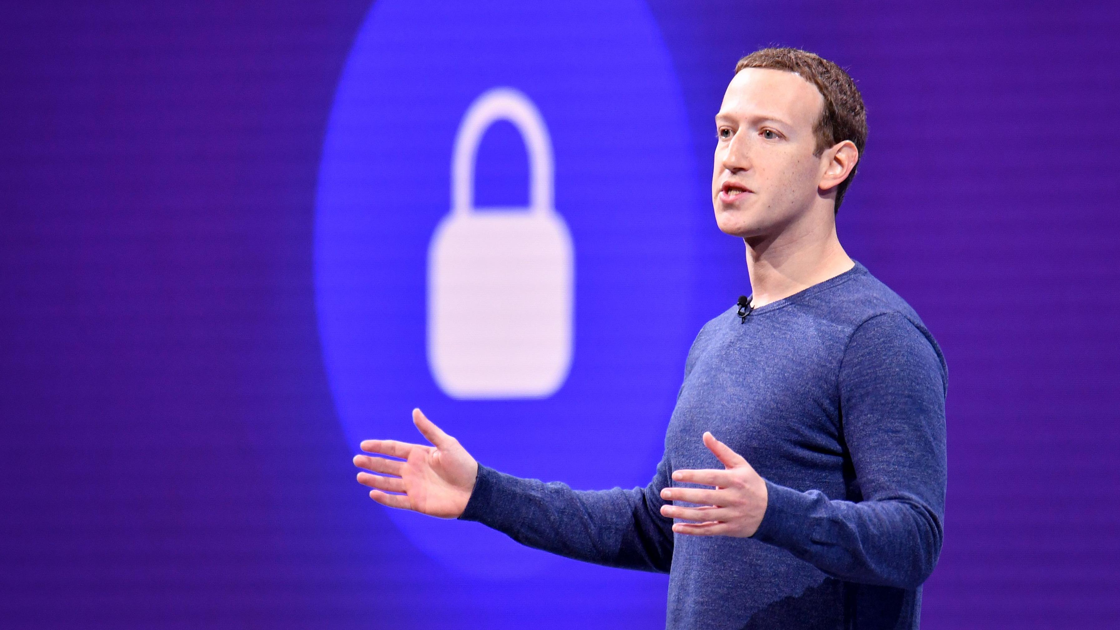 Facebook CEO Mark Zuckerberg speaks during the annual F8 summit