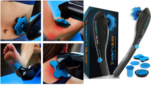 handheld massager with different massager heads to relieve pain