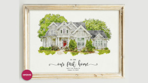 custom watercolor portrait of your home