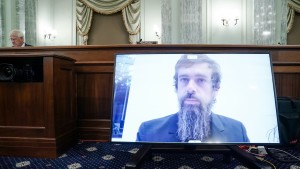Jack Dorsey testifies during a Senate hearing about his company's content moderation practices.