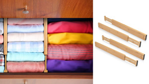 wooden drawer dividers to help keep clothes neatly stacked