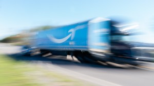 A truck with the Amazon Prime logo on it passes by the Amazon fulfillment warehouse at the center of a unionization drive on March 29, 2021 in Bessemer, Alabama.