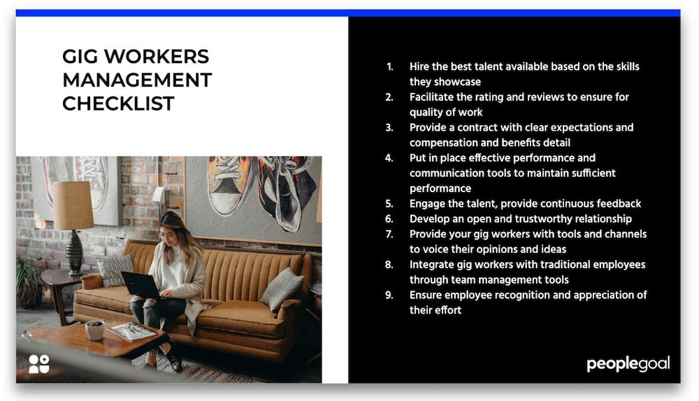 gig workers management checklist