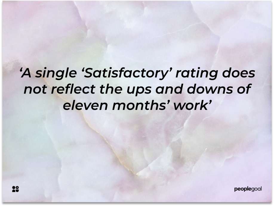 'Satisfactory' ratings in a performance review
